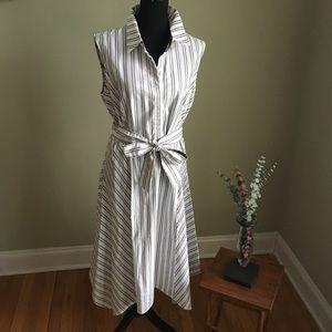 Lafayette 148 Nanette Basilica Stripe Cotton Dress